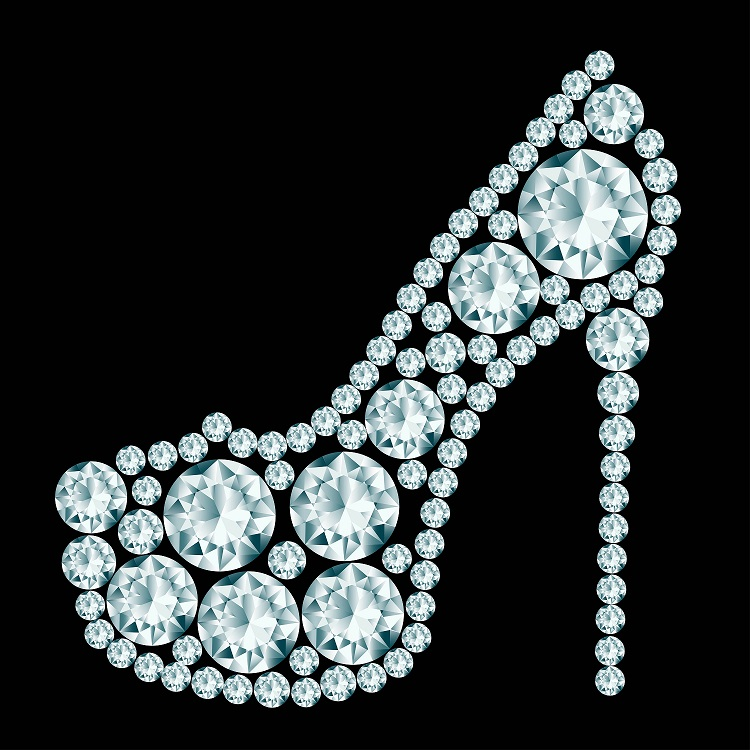High Heels Shoe Made Of Diamonds.